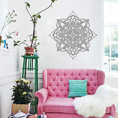 lyclff Yoga Blume Wand Applique dekorative Wand Kunst Vinyl Geschnitzte Wandaufkleber Wohnzimmer Schlafzimmer Dekoration grau 114x114cm