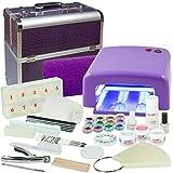Kit de manucure + nail art professionnel complet avec malette de transport motif Croco VIOLET - Lampe UV 36W (4 ampoules), Gels UV (3) et tous les accessoires pour les ongles - Format XXXL