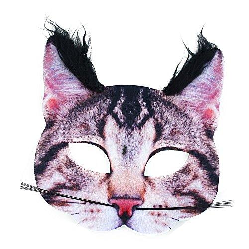 Rappa Aussergewöhnliche, lebensechte Tiermaske Maske Katze aus Stoff/Filz