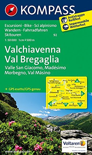 Carta escursionistica n. 92. Valchivenna, Val Bregaglia 1:50000