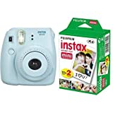 Fujifilm Instax Mini 8 Fotocamera Istantanea per Stampe Formato 62x46 mm, Blu + Fujifilm Instax Mini Film 10 Pellicola Instantanea per Instax Mini 7S, Mini 25 e Mini 50S, Set 2 Pezzi