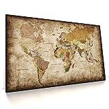 CanvasArts Weltkarte - Leinwand Bild auf Keilrahmen - Vintage, Grunge Style, deutsch (120 x 70 cm, Leinwand auf Keilrahmen)