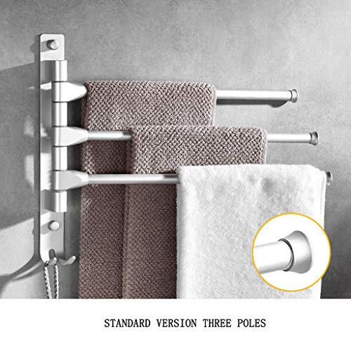 Handtuchstange Rotierenden Rack Luftfahrt Aluminiumlegierung Doppelmast Stahl Handtuchhalter Oberfläche Polieren Badewanne Rahmen Verdickung Nagel Loch (größe : Standard Version 3 Poles) -
