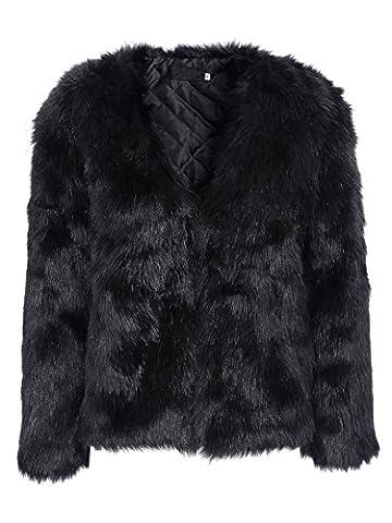 Simplee Apparel Damen Mantel Winter Elegant Warm Faux Fur Kunstfell Jacke Kurz Mantel Coat Schwarz (Jacken Kurz)