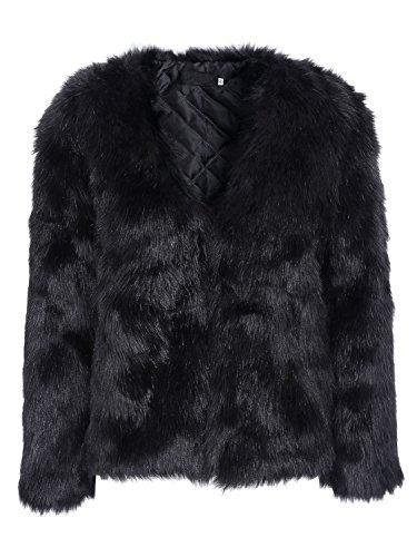 Simplee Apparel Womens Winter Warm Long Sleeve mullido abrigo de piel del faux chaqueta negro