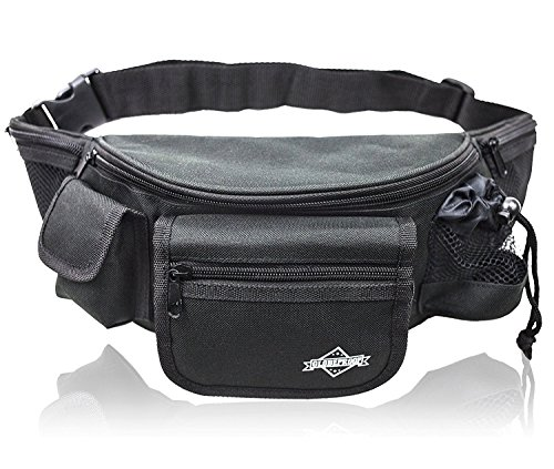 Bauchtasche Herren schwarz mit 7 Fächern – Große Gürteltasche / Hüfttasche / Motorrad-Bauch-Tasche (7 Tasche Schwarz)