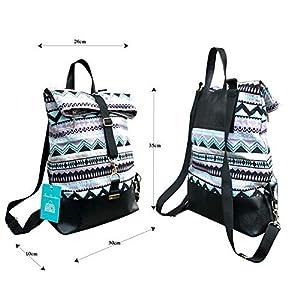 Frauen Rucksack 2 in 1 mit Muster.Falttasche.Lila-rosa-blau-schwarze Umhängetasche mit rucksackfunktion aus Leder und…