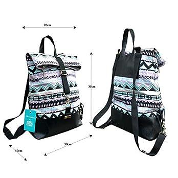 Frauen Rucksack mit Muster.Falttasche.Lila-rosa-blau-schwarze Umhängetasche mit rucksackfunktion aus Leder und Leinenstoff