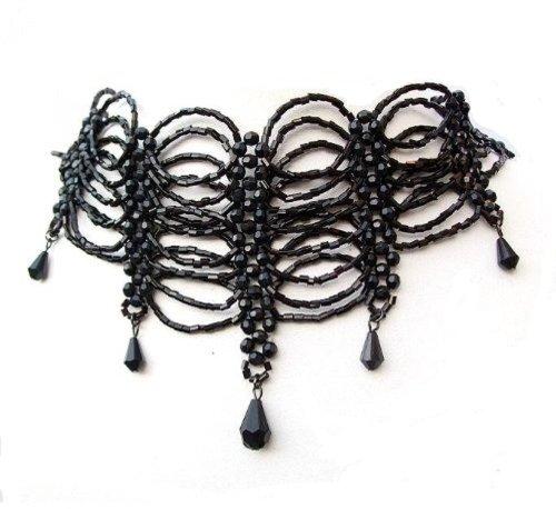 Collana girocollo con perline di vetro nere, stile gotico burlesque, con pendente, bigiotteria per donne e ragazze