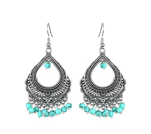 Waama Jewels Ethnic Turquoise_B Brass Dangle & Drop Earring For Women's And Girl's