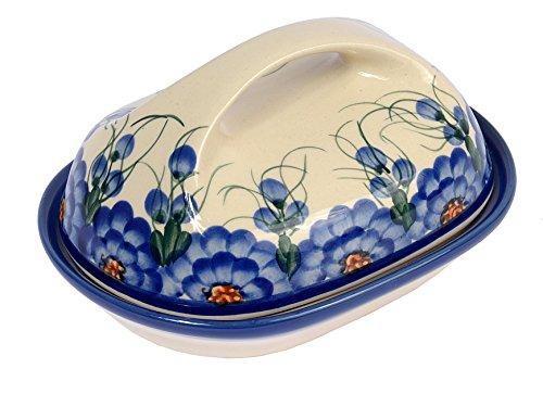 Traditionelle Polnische Keramik, handgefertigte Butterschale mit Deckel mit Muster im Bunzlauer Stil, B.201.ARTS