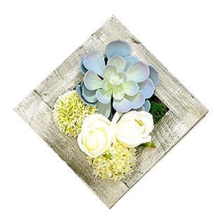 Künstliche Flower-Wall Kleiderbügel 30cm in11.81in, 3D Sukkulenten Moos auf Den Stein Weiß Blume mit Holz Rahmen Form Vase Home Dekoration D
