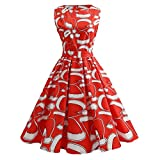 JUTOO Frauen Weihnachten Print Spitze Pin Up Swing Lace Party Panel Kleid( rot,XX-Large)