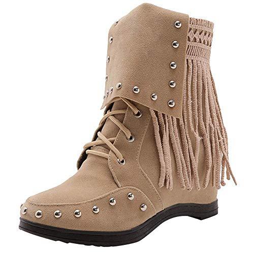 HhGold Tobillo Martin Botas para Mujer Zapatos, 70s Invierno Goth cuña tacón Chukka Desierto tácticas...
