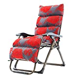 Sedie a Sdraio Sedia a Sdraio per Patio a gravità Zero Gravity Chair Sedia a Sdraio e Cuscini per Persone Pesanti Outdoor Beach Camping Portable Chair Support 260kg (Colore : Red Flower Pattern)