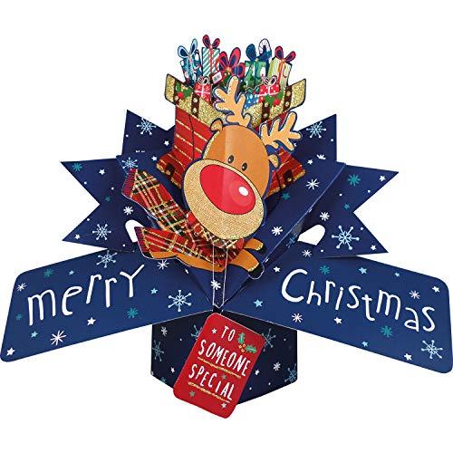 Second Nature XPOP051A - Tarjeta de felicitación navideña con un reno y un mensaje en inglés
