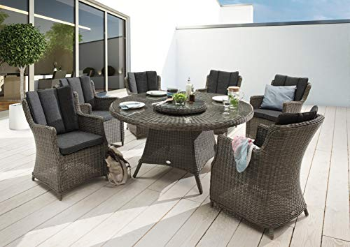 Destiny Sitzgruppe La Luna XXL Vintage Grau Luxe Tisch Geflechtsessel Polyrattan