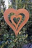 Edelrost Herz mit Innenherz 24,5cm zum Aufhängen Windspiel Gartendekoration Metall Rost