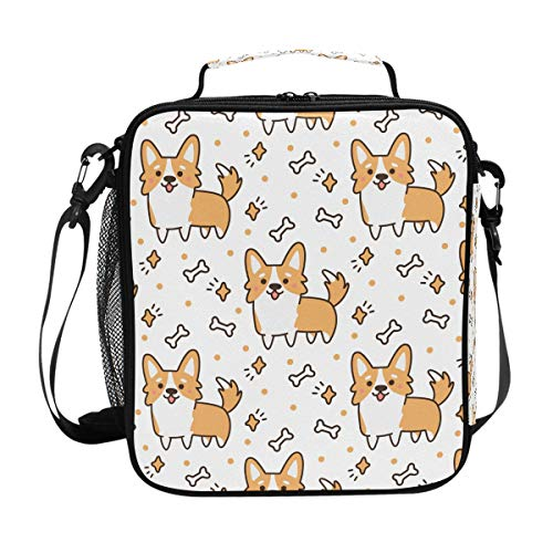 Hunde-Lunchtasche mit Corgi-Muster, für Mahlzeiten, Vorbereitung, Lunchbox, Kühler, Schultergurt, für Herren, Damen, Kinder, Jungen, Mädchen, groß, isoliert, Picknick, Schule, Büro -