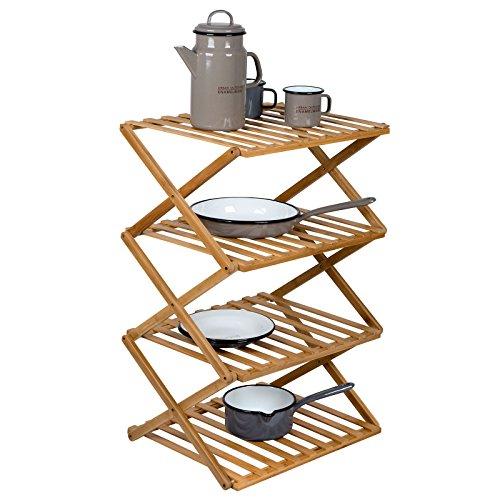 Bo Camp 1609300 Fitzroy Camping Regal Faltschrank Faltregal Küche Möbel Faltbar Bambus Holz 50x40x72 cm