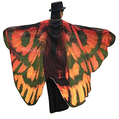 AiSi Damen Strand Überwurf, Chiffon Schal, Schmetterling Kostüm, Schmetterling Flügel Schal, für Cosplay Weihnachten und Urlaub am Strand Gelb ()