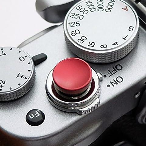 Soft Déclencheur en aluminium en rouge (concave, 10mm), edition limitée, pour Leica M-Serie, Fuji X100, X100S, X100T, X10, X20, X30, X-Pro1, X-Pro2, X-E1, X-E2, X-E2S et tous les appareils photos avec la bouche filetage conique