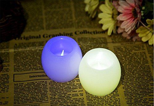 2pieza LED electrónica Vela Colorful Flash with battery Luz sin llama ovalada Cera Innenhof Disposición sujetalibros boda Decoración Partido
