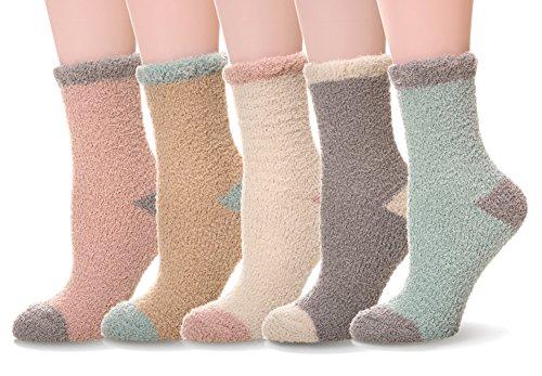 JOYORUN Damen Socken Soft Microfiber Fuzzy Sock Warme Hosiery 5 Paar Wintersocken 5 Paare-Mehrfarbig 2
