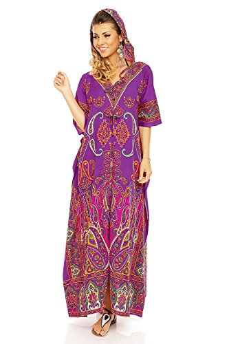 Looking Glam Ladies Full Length Oversized Maxi Kimono Tunic Hooded Kaftan Gown Dress