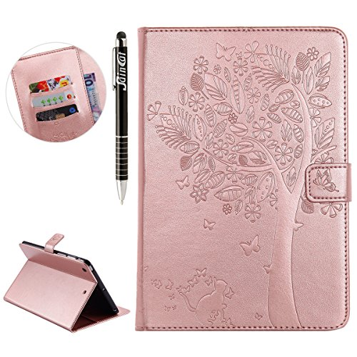 Custodia iPad Mini 2, iPad Mini 3 Flip Case Leather, SainCat Custodia in Pelle Cover per iPad Mini 1/2/3, Anti-Scratch Book Style Protettiva Caso PU Leather Flip Portafoglio Custodia Libro Protettiva  Rose Gold