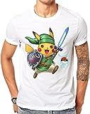 Linkachu, Hero Of Time with Pokeball Navi - Pokemon / Legend Of Zelda Parody (Medium, White)