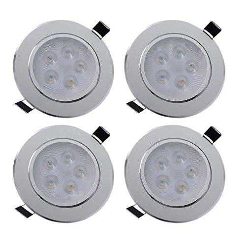 Anten 5W Ultra Flach LED Einbaustrahler Einbauleuchte Spot Deckenleuchte , Warmweiß 3000K, 230V, Rund, Aluminium, 400lumen, Nicht Wasserdicht IP20, 4er Pack