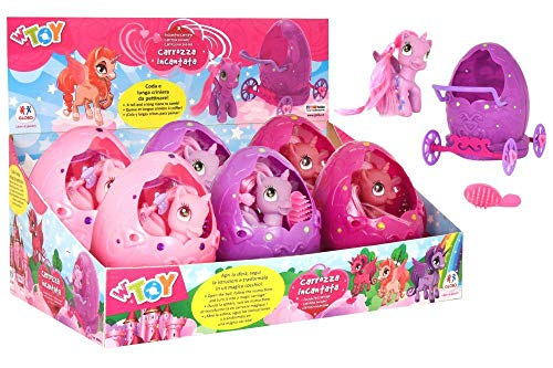 GLOBO, Egg/Carriage with Pony/Brush 3 Colores 6 Piezas D/B (38994), Multicolor (1)