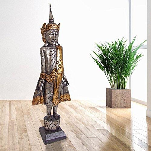Buddha 100cm stehend Dekofigur Skulptur Holzfigur Buddhafigur Statue Thailand