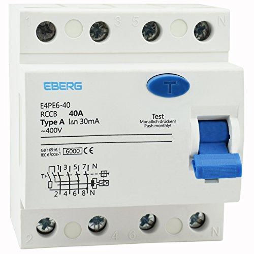 EBERG E4PE6-40 RCCB A40 4P FI-Schutzschalter, 40A 30mA Typ-A 4-polig