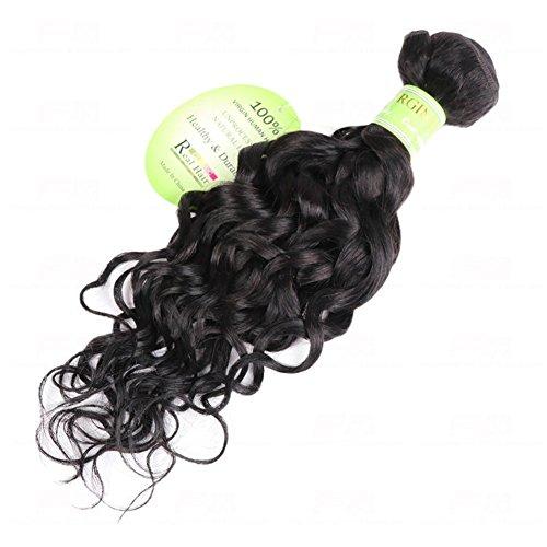 Echthaar Tressen Haarverlängerung Schuss 8A Klasse Virgin Wasser Welle Haar Weben 100% Unverarbeitet Mensch Haar Erweiterungen Natürlich Schwarz 1 Bündeln 100 g , 22