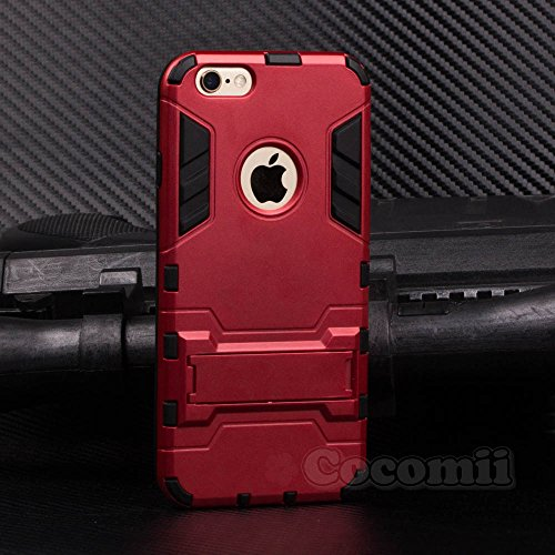 iPhone 6S Plus / 6 Plus Hülle, Cocomii Iron Man Armor NEW [Heavy Duty] Premium Tactical Grip Kickstand Shockproof Hard Bumper Shell [Military Defender] Full Body Dual Layer Rugged Cover Case Schutzhül Red