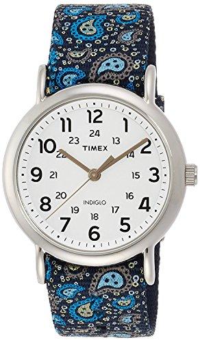 Timex Damen Analog Quarz Uhr mit Textil Armband TW2P81100 (Indiglo Uhr)
