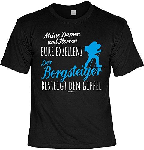 Freizeit/Wander/Kletter-Shirt/Sprüche-Shirt Thema Wandern: Meine Damen und Herren Eure Exzellenz Der Bergsteiger besteigt den Gipfel Schwarz