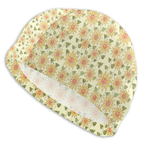 GUUi Swimming Cap Elastic Swimming Hat Diving Caps,Floral Nature Pattern In Patchwork Style Rustic Country Design,for Men Women Youths -