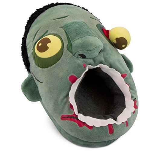 Grinscard Plüsch Hausschuhe Zombie Design - Grau Schuh Größe 36 bis 42 - Motiv Anirutsch Pantoffeln als Geschenkidee