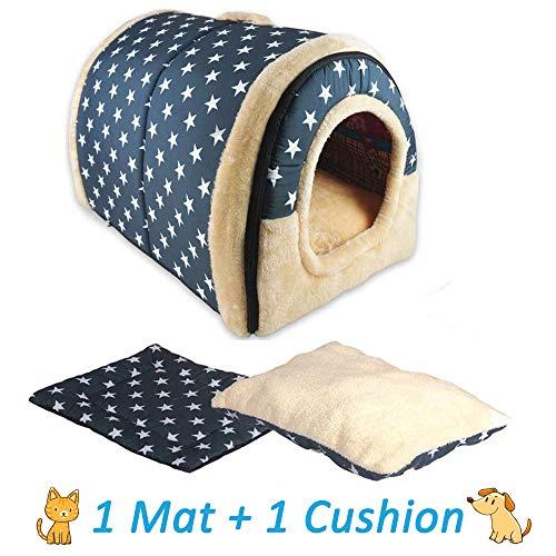 ANPI 2 In 1 Haustier Haus und Sofa, Maschinenwaschbar Anti-Rutsch Faltbare Weich Warm Hund Katze Hündchen Kaninchen Haustier Nest Höhle Bett Haus mit Abnehmbarem Matratze, Groß -