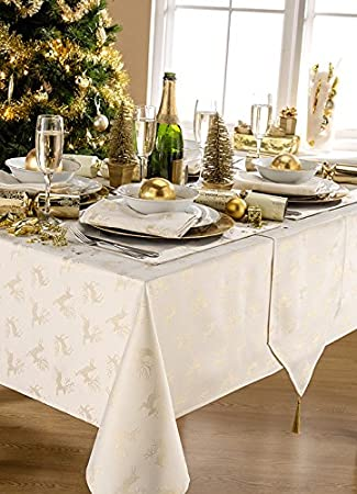 Deer Cream/Gold Metallic Effect Christmas Extra Long Table Runner With  Tassels (13x96in