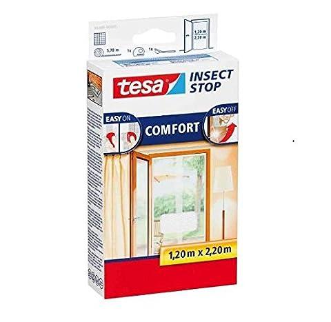 tesa Fliegengitter für Türen, beste tesa Qualität, anthrazit, durchsichtig, 1,2m x 2,5m