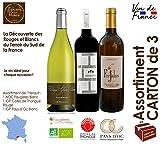 Assortiment de 3 Vins, 2 Blancs 2018 et 1 Rouge 2017 - AOC Faugères BIO, IGP Pays d'OC et IGP Cotes de Thongue 75 cl - Vin du Sud de la France Languedoc Hérault