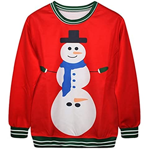 NiSeng Donna Uomo Natale Pullover Tops Jumper Caldo Sweater con Stampa Sweatshirt Autunno Inverno