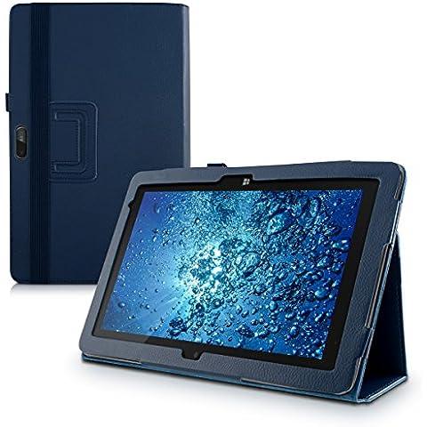 kwmobile Elegante funda de cuero sintético para Dell Venue 11 Pro en azul oscuro con una práctica FUNCIÓN DE SOPORTE