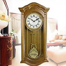 L&L LLL-Madera Reloj de Pared con péndulo Europea Antiguo Tradicional Oversized Horas Rectángulo Salón