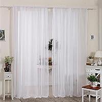 2pcs cortinas visillo decoración de ventana visillo con anillas integradas (Draperie suave Elégant románticas, blanco, 140*230CM