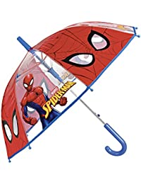 Paraguas Marvel Spiderman de Niño - con Estampado el Hombre Araña - Paraguas Transparente de Burbuja